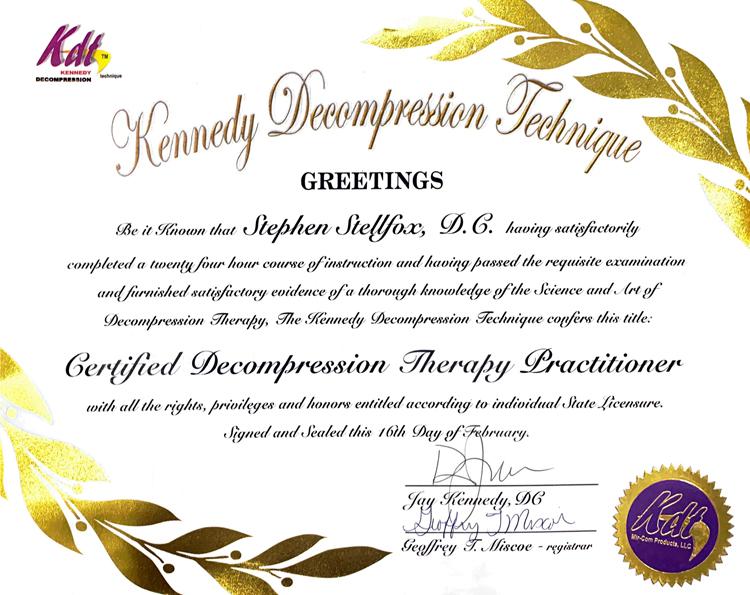 Chiropractic Chapin SC Stephen Stellfox Kennedy Decompression Certified